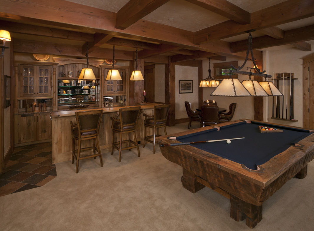 Home on the range mountain lodge for Western basement ideas